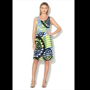 Desigual sleeveless dress floral wavy stripe print